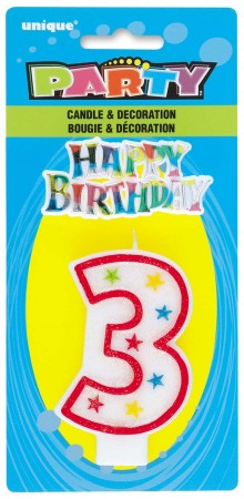 Numeral 3 Glitter Birthday Candles W/HB Decors (1)