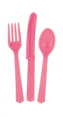 Hot Pink Cutlery Assorted (18)