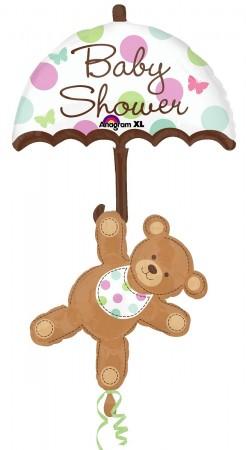 "Baby Shower Umbrella Bear Foil Balloon 49"" (1)"