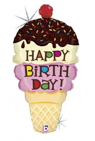 "Birthday Ice Cream Cone Shape Foil Balloon 33"" (1)"