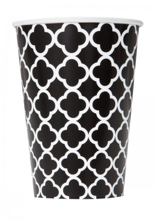 Black Quatrefoil Cups (6)