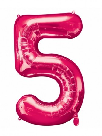 "34"" 5 Pink Number Shape Foil Balloon"