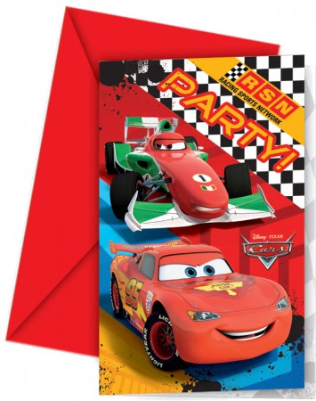 Disney Cars Invitations & Envelopes (6)
