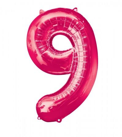 "34"" 9 Pink Number Shape Foil Balloon (1)"