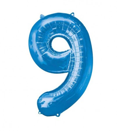 "34"" 9 Blue Number Shape - Package (1)"