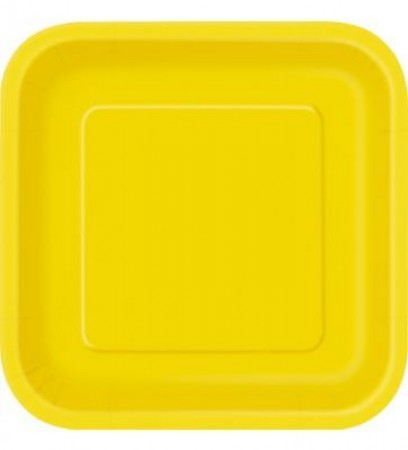Yellow Square Lunch Plates (20)