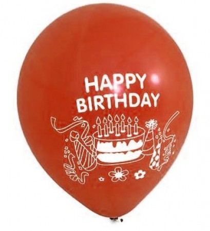 Happy Birthday Red Latex Balloons (100)