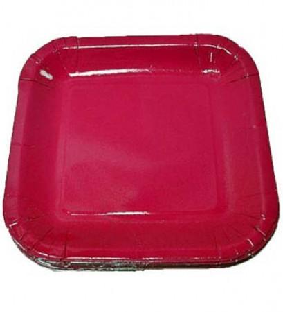 Hot Pink Square Dessert Plates (20)