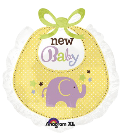 "New Baby Bib Shape Foil Balloon 26"" (1)"