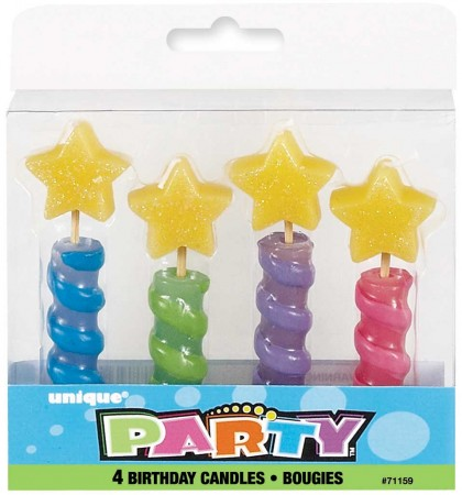 Star Top Birthday Candles (4)