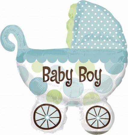 "Baby Buggy Boy Shape Foil Balloon 31"" (1)"