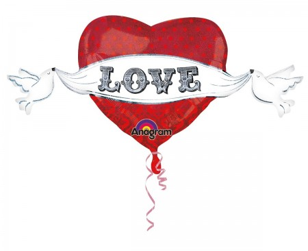 "Love Doves Tapestry Shape Foil Balloon 41"" (1)"