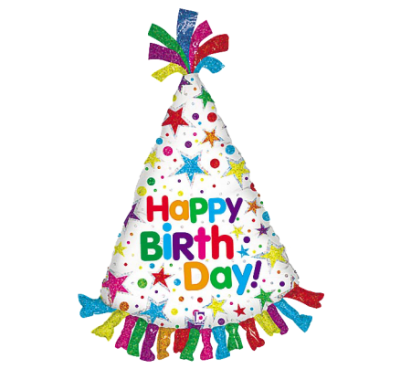 "Happy Birthday Hat Shape Foil Balloon 34"" (1)"