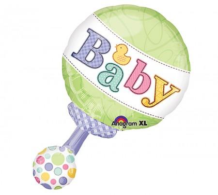 "Tiny Bundle Rattle Shape Foil Balloon 31"" (1)"