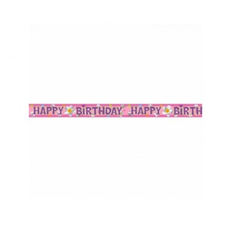 Happy Birthday Flower Foil Banner (1)
