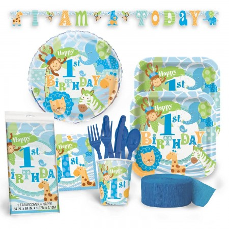 1st Birthday Blue Safari Deluxe Kit