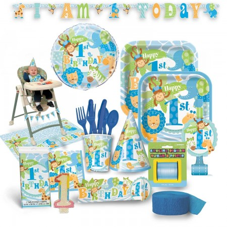 1st Birthday Blue Safari Premium Kit