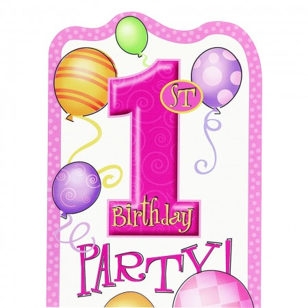 First Birthday Pink Balloons Invitations (8)