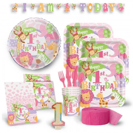 1st Birthday Pink Safari Deluxe Kit
