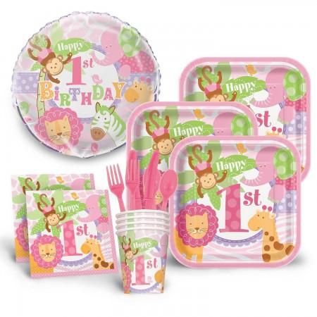 1st Birthday Pink Safari Economy Kit