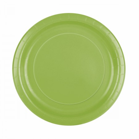 Lime Green Round Lunch Plates (16)