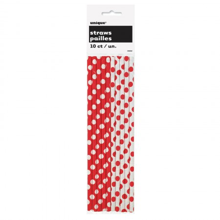 Ruby Red Dots Paper Straws (10)