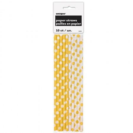 Sunflower Yellow Dots Paper Straws (10)