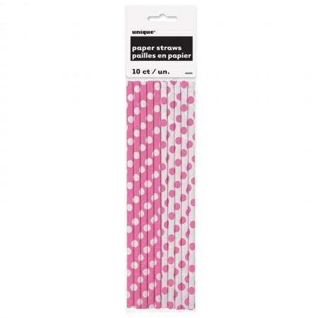 Hot Pink Dots Paper Straws (10)