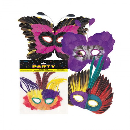 Feather Mask Assorted Styles (1)