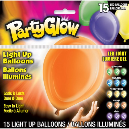 Solid Color Assorted Light-Up Balloons (15)