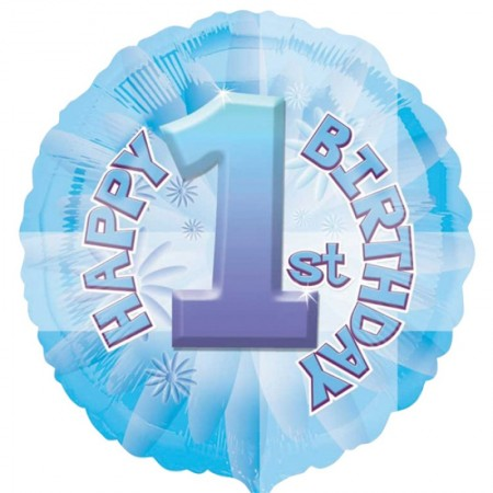 Baby's First Birthday Blue Foil Balloon (1)