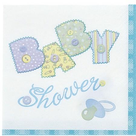 Baby Blue Stitching Beverage Napkins (16)