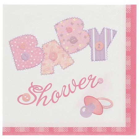 Baby Pink Stitching Beverage Napkins (16)