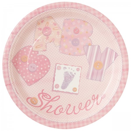 Baby Pink Stitching Lunch Plates (8)