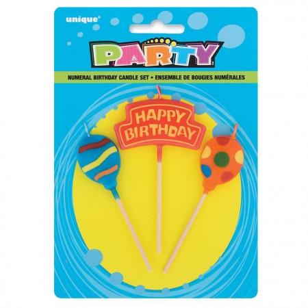 Balloons Birthday Candle Set (3)