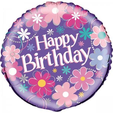 "Birthday Blossoms Foil Balloon 18"" (1)"