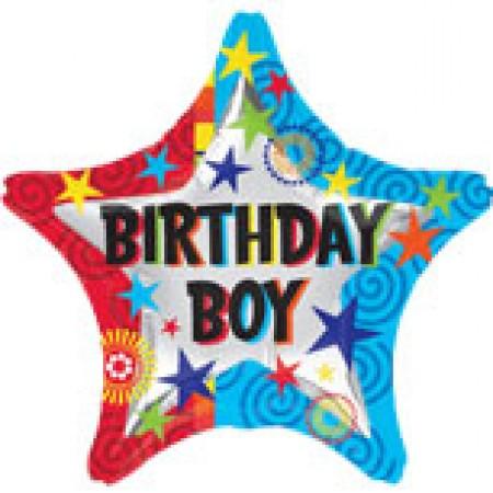 "Birthday Boy Swirly Star Foil Balloon 18"" (1)"
