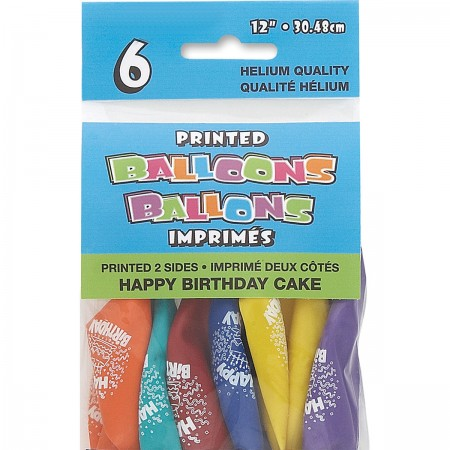 Birthday Cake Printed Balloons Assorted (6)
