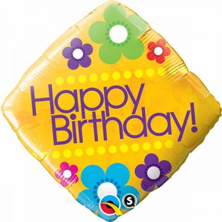 "Birthday Daisies Diamond Foil Balloon 18"" (1)"