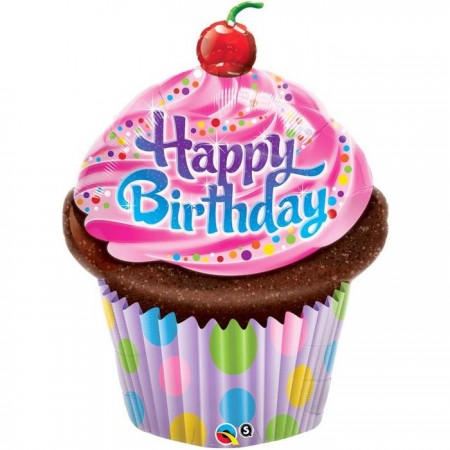 """35"""" Birthday Frosted Cupcake Foil Balloon (1)"""