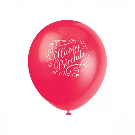 Birthday Hearts Printed Balloons Assorted (6)