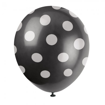Black Polka Dot Balloons (6)