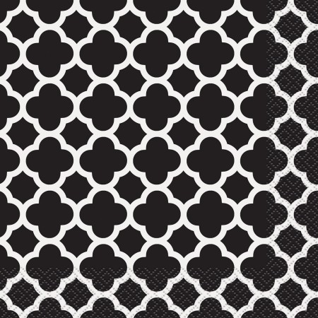 Black Quatrefoil Lunch Napkins (16)