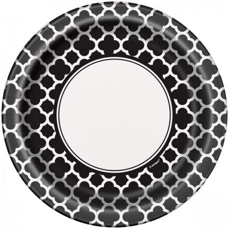 Black Quatrefoil Lunch Plates (1)