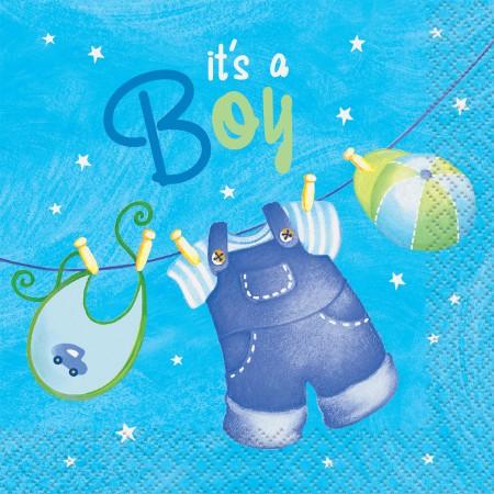 Blue Clothesline Baby Shower Beverage Napkins (16)