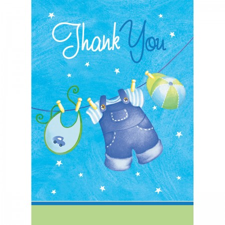 Blue Clothesline Baby Shower Thank You Notes (8)