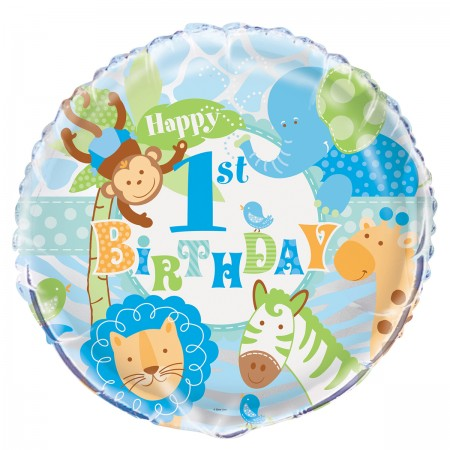 "Blue Safari First Birthday Foil Balloon 18"" (1)"