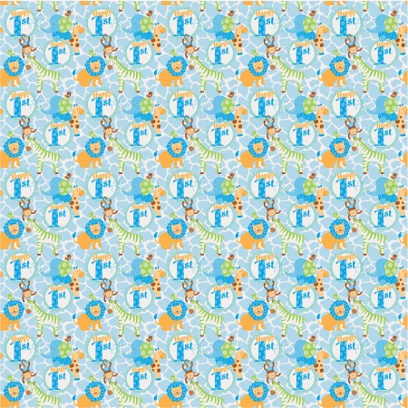 Blue Safari First Birthday Giftwrap (1)