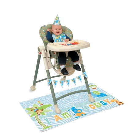 Blue Safari First Birthday High Chair Kit (1)