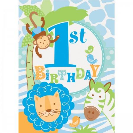 Blue Safari First Birthday Invitations (8)